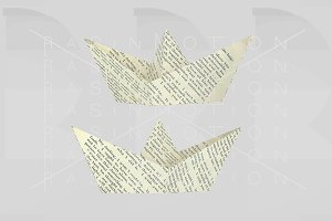 Letters paper boat. 3d illustration