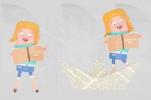 Girl reading inside paper boat