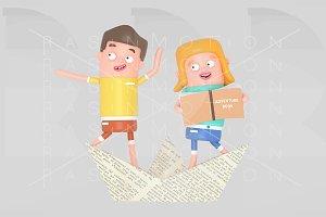 Sailor kids inside paper boat