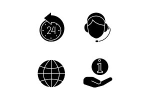 Information center glyph icons set