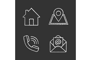 Information center chalk icons set