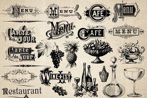 Vintage Menu Wine List Vectors