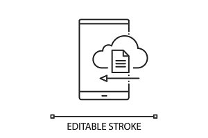 Smartphone cloud storage linear icon