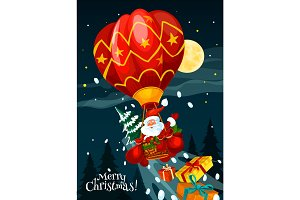 Santa with gift in air balloon