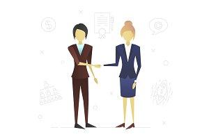 Two businesswomen flat character