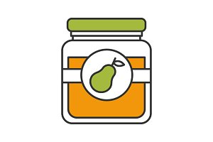 Pear jam jar color icon