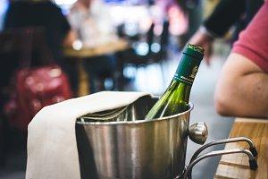 Bottle of wine in an ice bucket