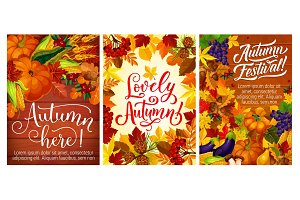 Autumn festival or party posters