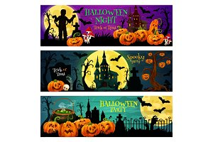 Halloween night party banners