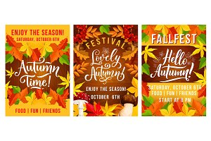 Fall autumn fest invitation posters