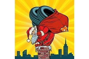 car winter tires. Santa Claus with