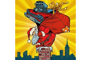 retro racing car. Santa Claus with