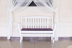 Vintage wooden white violet bench