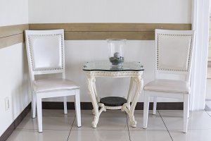 Vintage white chair and table with a