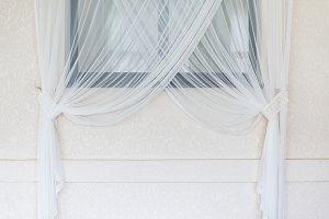 Interior white curtain against