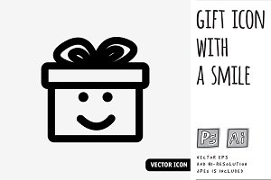 Vector gift icon with a smile