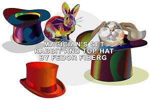 Rabbit and top hat magic set vector