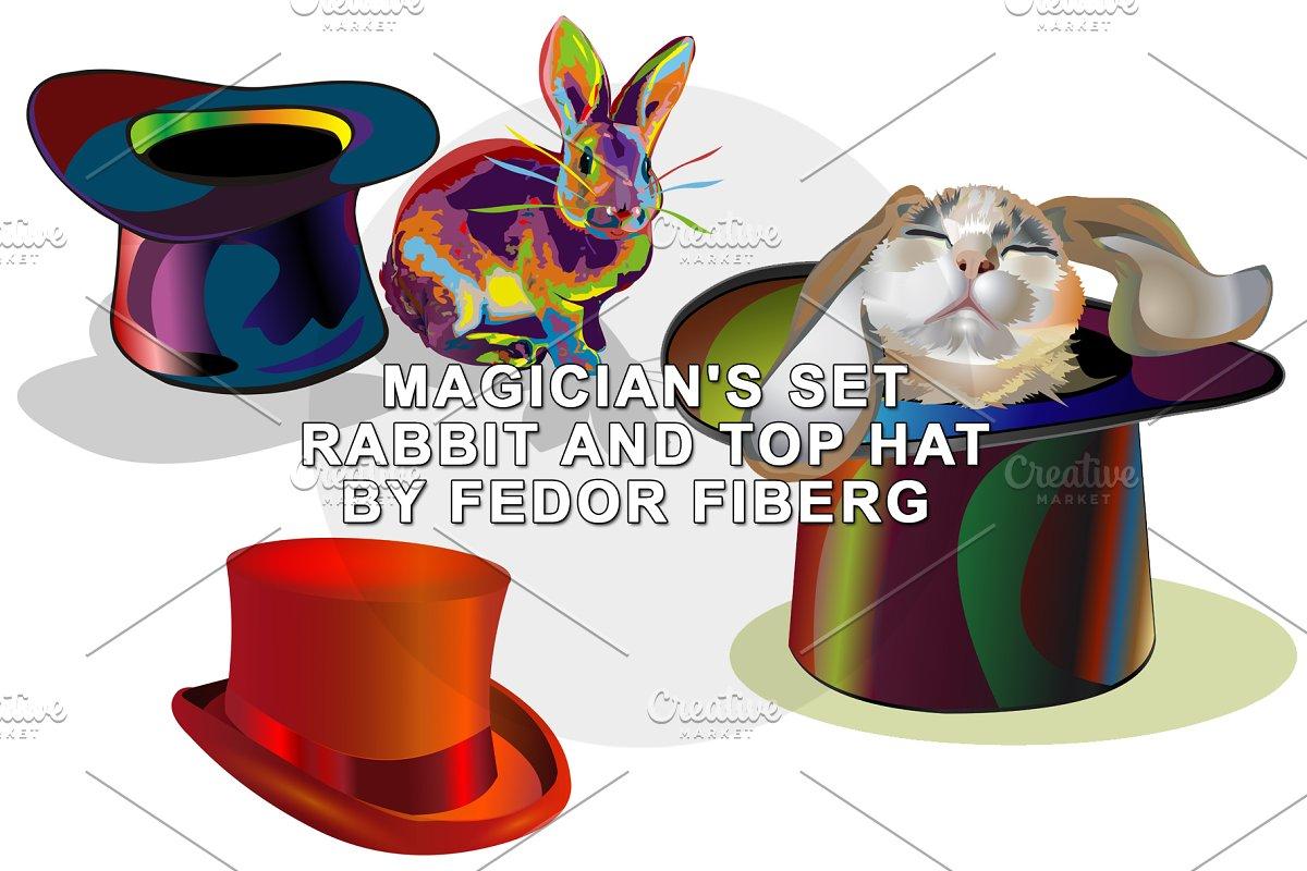 542e066343d93 Rabbit and top hat magic set vector ~ Illustrations ~ Creative Market