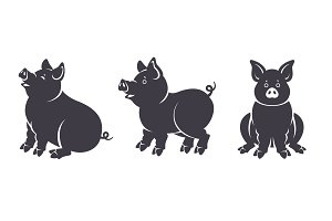 Set of black pigs silhouettes