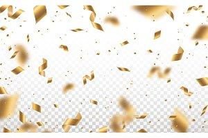 Golden confetti and serpentine