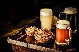 Selection of different types of beer
