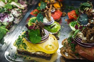 Colorful appetizers on steel plate