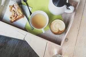 Coffee cappuccino and tea