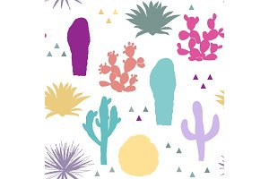 Seamless pattern with cactus plants