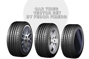 Car tires vector illustration set