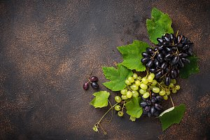 Assortment of  grapes with leaves