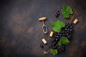 Grape and vintage corkscrew