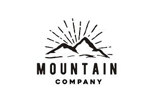 Hand Drawn Hipster Mountain Logo