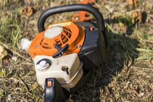 Orange gasoline engine portable
