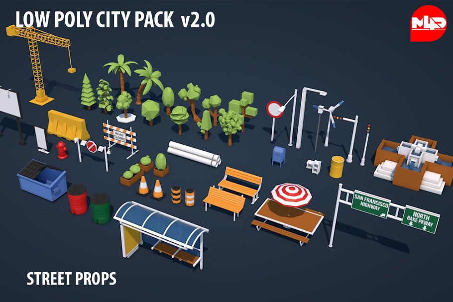 Low Poly City Pack v 2 0