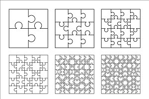 Set of nine white puzzles pieces