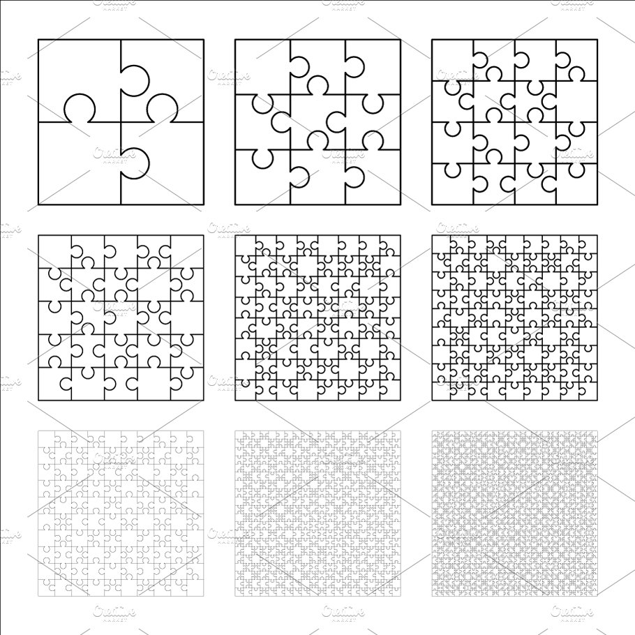 Set of nine white puzzles pieces ~ Graphic Objects ~ Creative Market