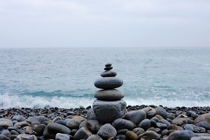 Stack of stone on the beach