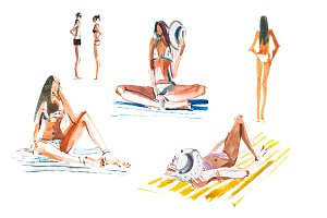 People on the beach Tanning women