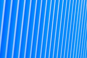 Detail of blue striped metal facade