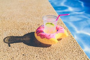Summer cocktail in the pool