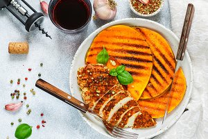 Grilled chicken and pumpkin