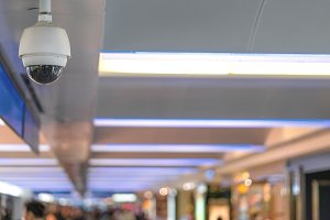 CCTV security camera on ceiling
