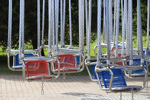 Empty hanging seats for children
