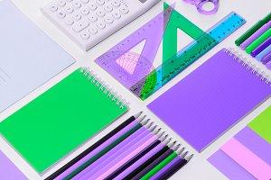 School accessories top view