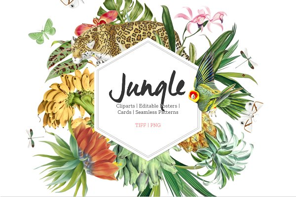Graphics: Pink Linen - Jungle, Luxurious Cliparts & more!