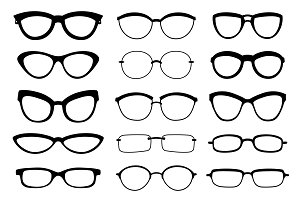 A set of glasses isolated. Vector