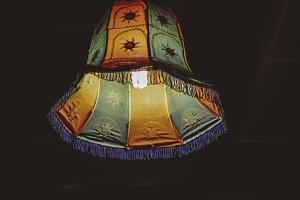 Colorful Hanging Lamp At Night