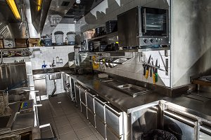 Professional kitchen, view counter i