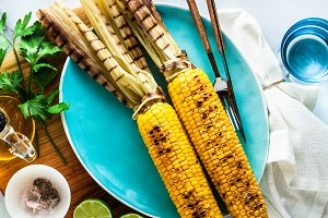 fresh ripe summer grilled corn on a