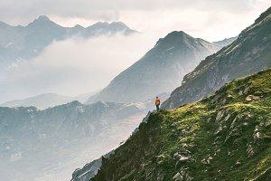 Mountains adventure traveler